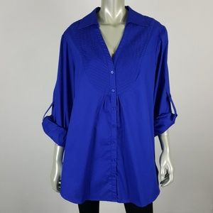 Spense Tab Sleeve V-Neck Button Up Tunic Top 1X